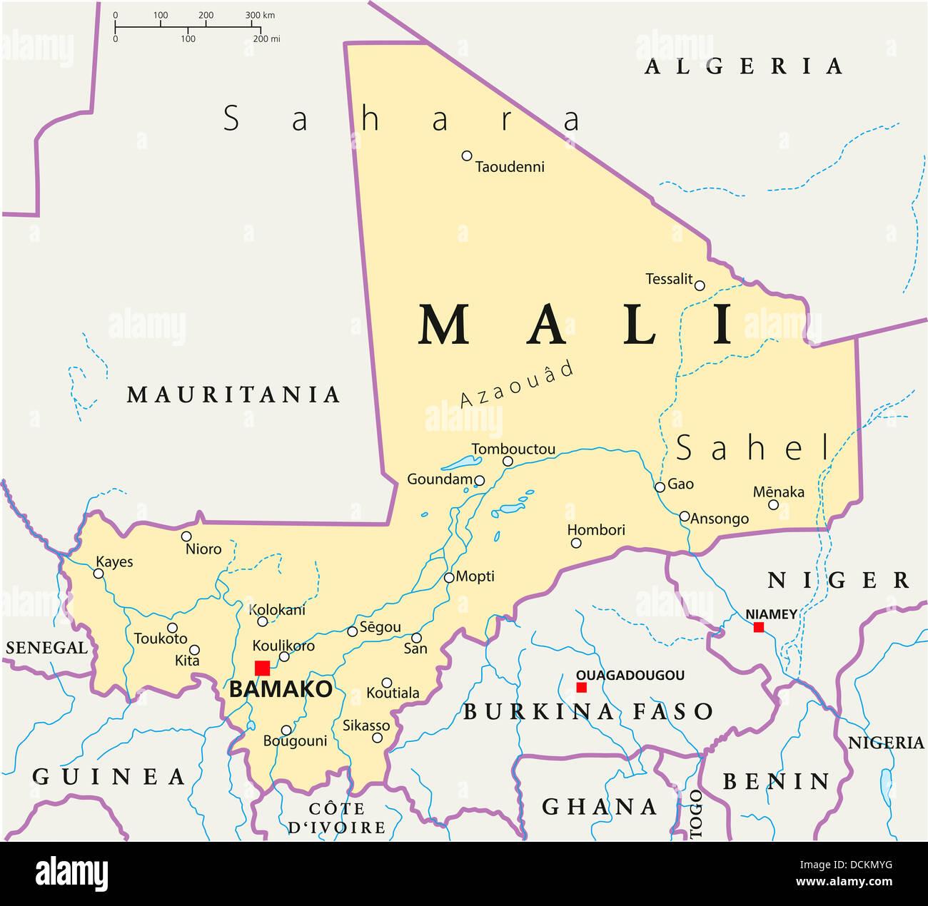 Mali Political Map Stock Photo: 59440516 - Alamy