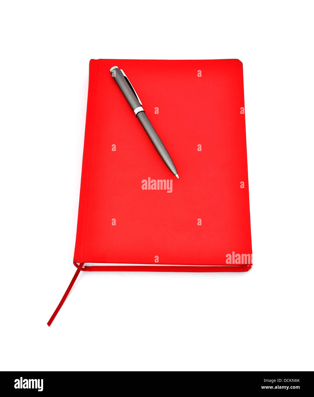 Red diary and pen - Stock Image