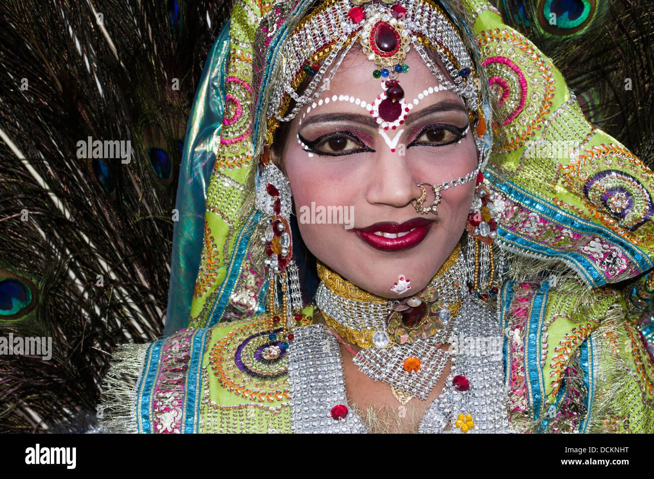 Rajasthani Folk Dancer / Musician - Jaipur, Rajasthan, India - Stock Image