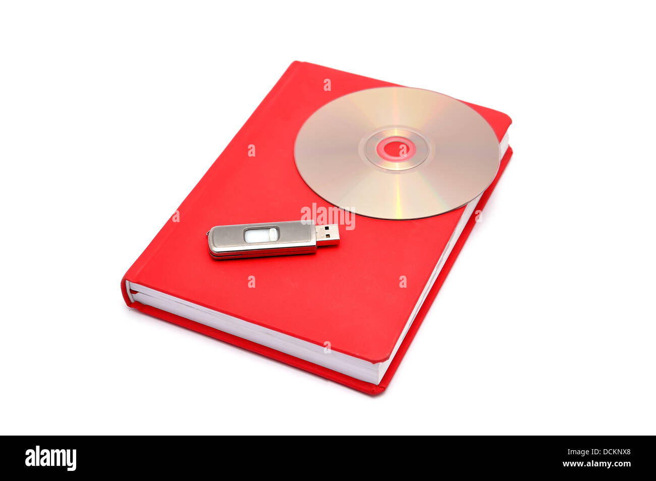 diary, flash drive and cd - Stock Image