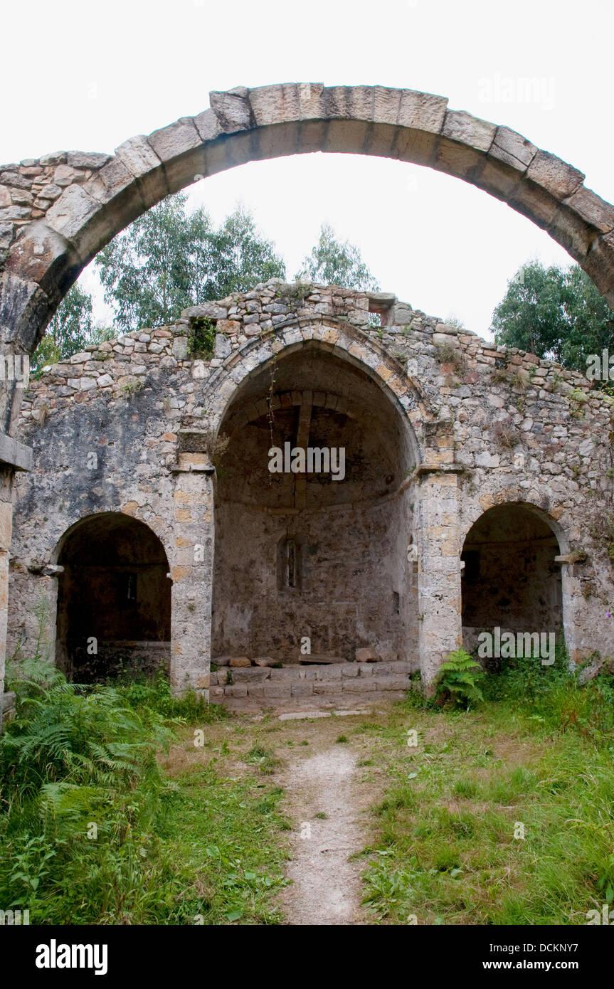 Ruins of Tina monastery. Pimiango, Asturias, Spain. - Stock Image