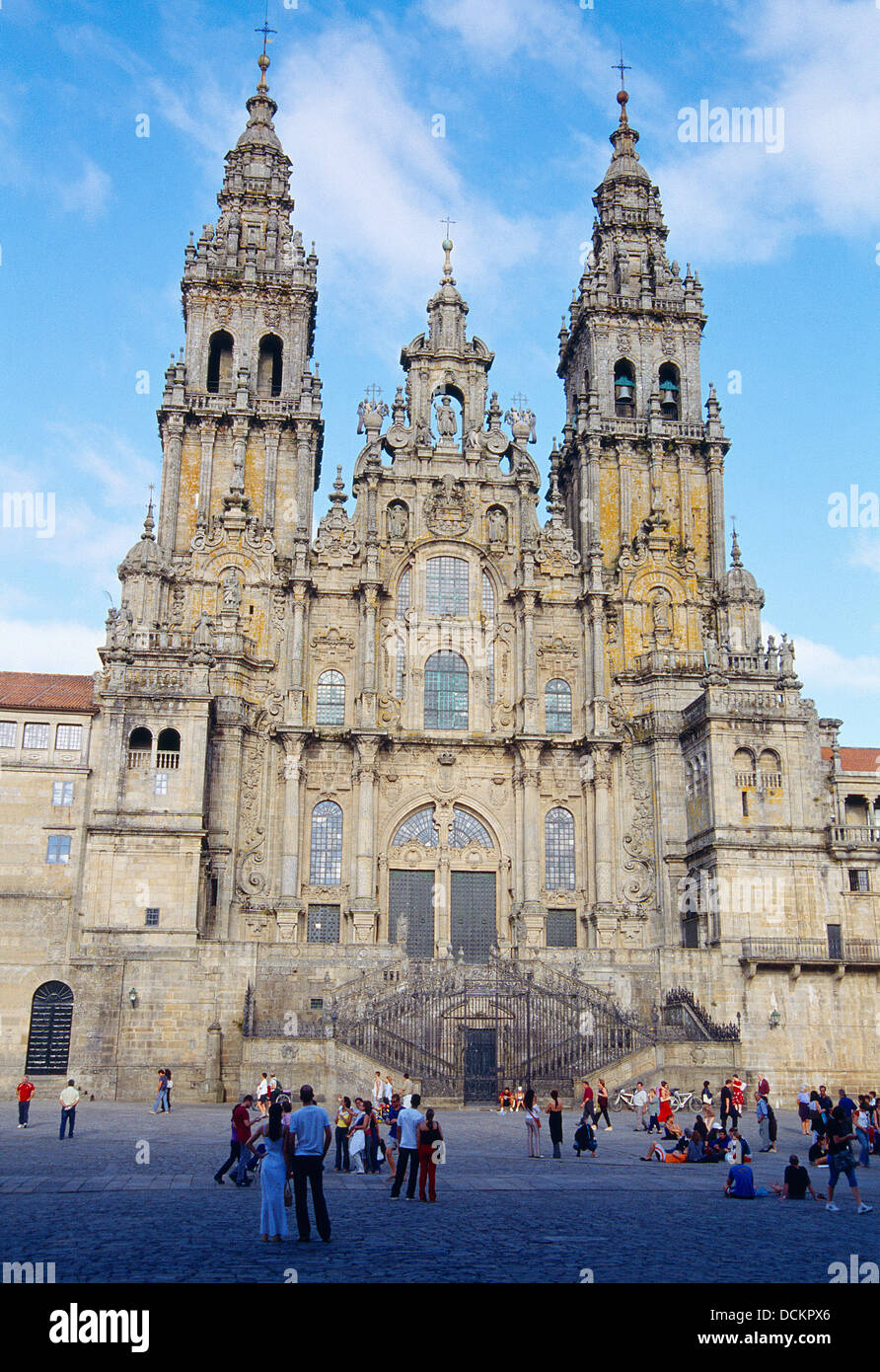 Facade of the cathedral. Obradoiro Square, Santiago de Compostela, La Coruña province, Galicia, Spain. - Stock Image