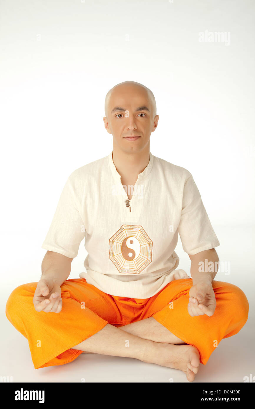 Man in lotus position - Stock Image
