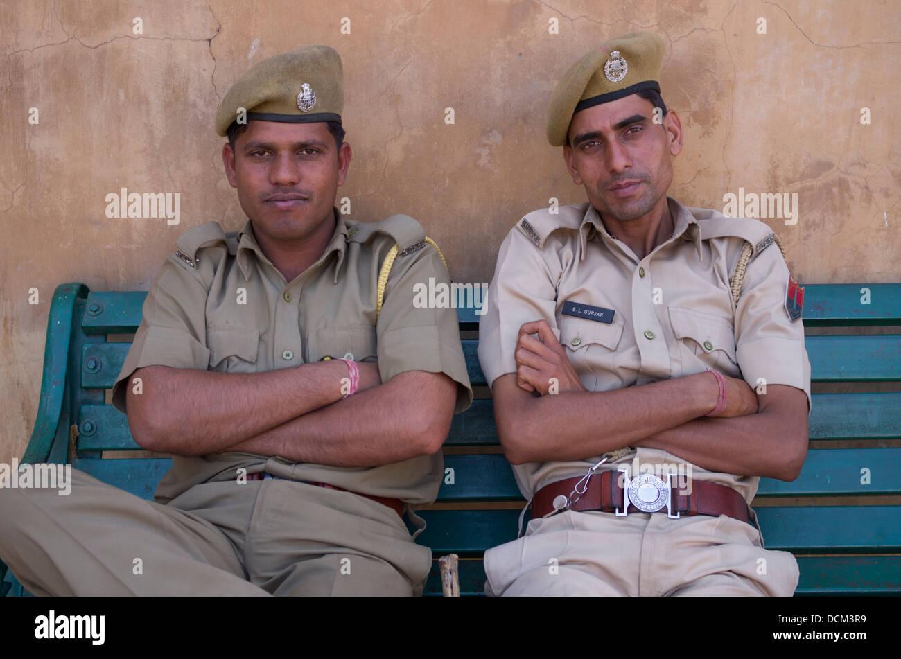 Indian security guards at Amber ( Amer ) Fort / Palace - Jaipur, Rajasthan, India - Stock Image