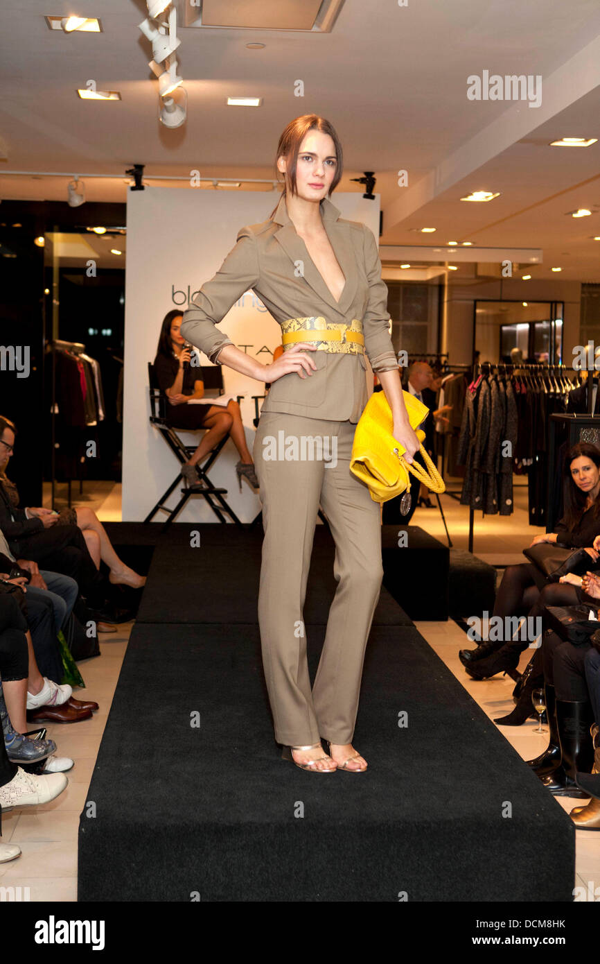 Model During Fashion Show Elie Tahari At Bloomingdales Street Shop Stock Photo Alamy