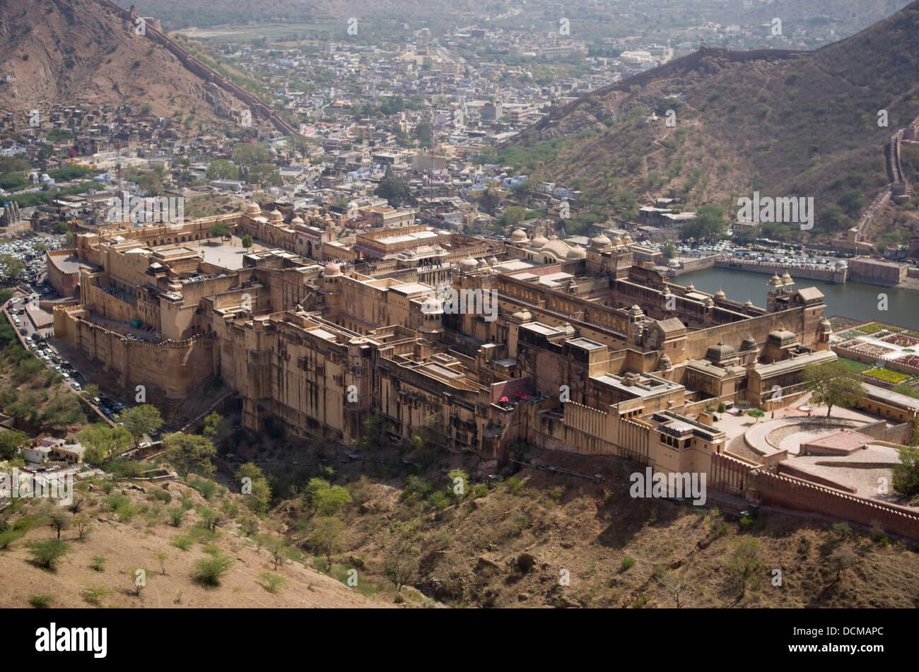 Amber ( Amer ) Fort / Palace - Jaipur, Rajasthan, India - Stock Image