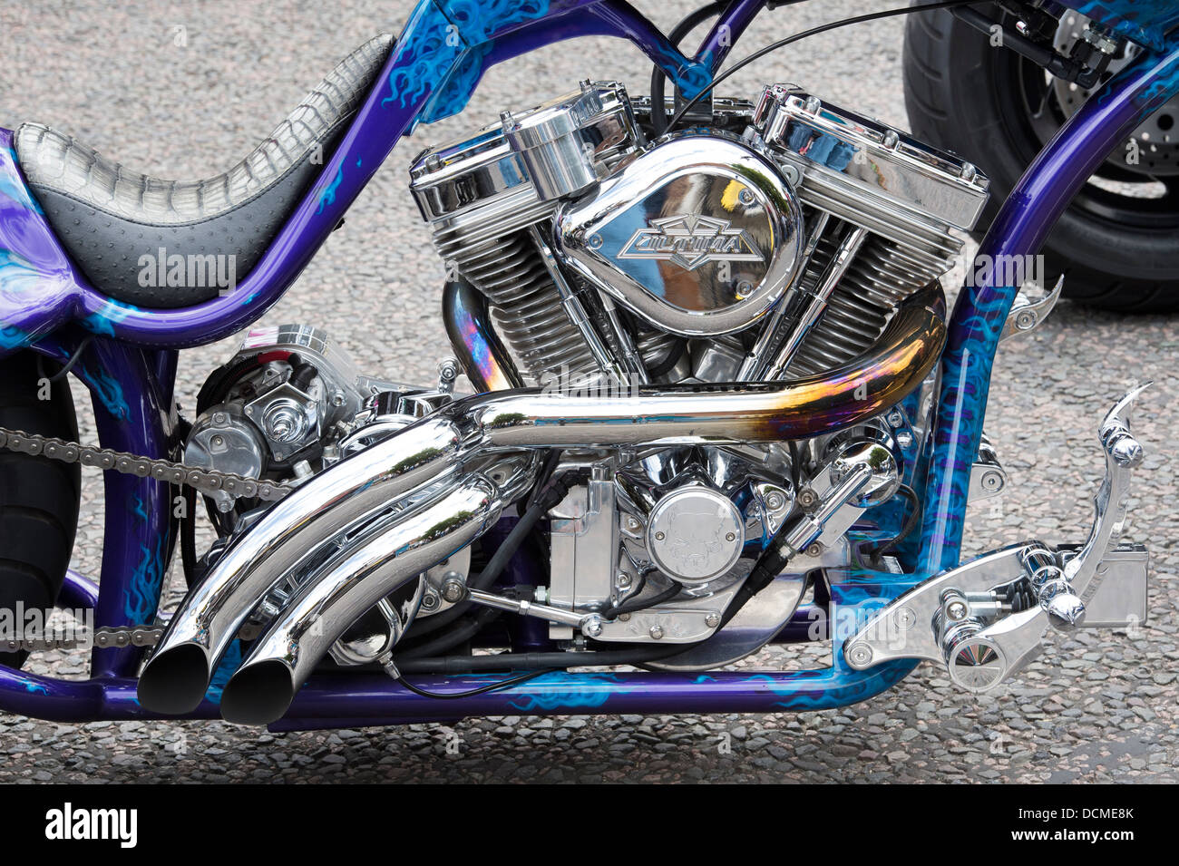 Custom chopper motorcycle engine - Stock Image