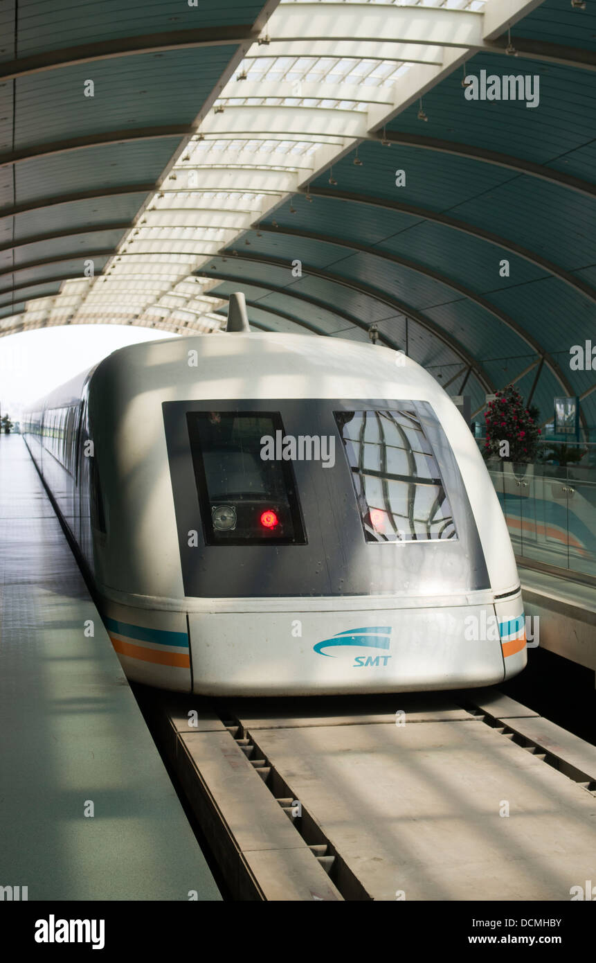 Shanghai Maglev Train or Shanghai Transrapid, Magnetic Levitation Train from  Shanghai Pudong International Airport - Stock Image