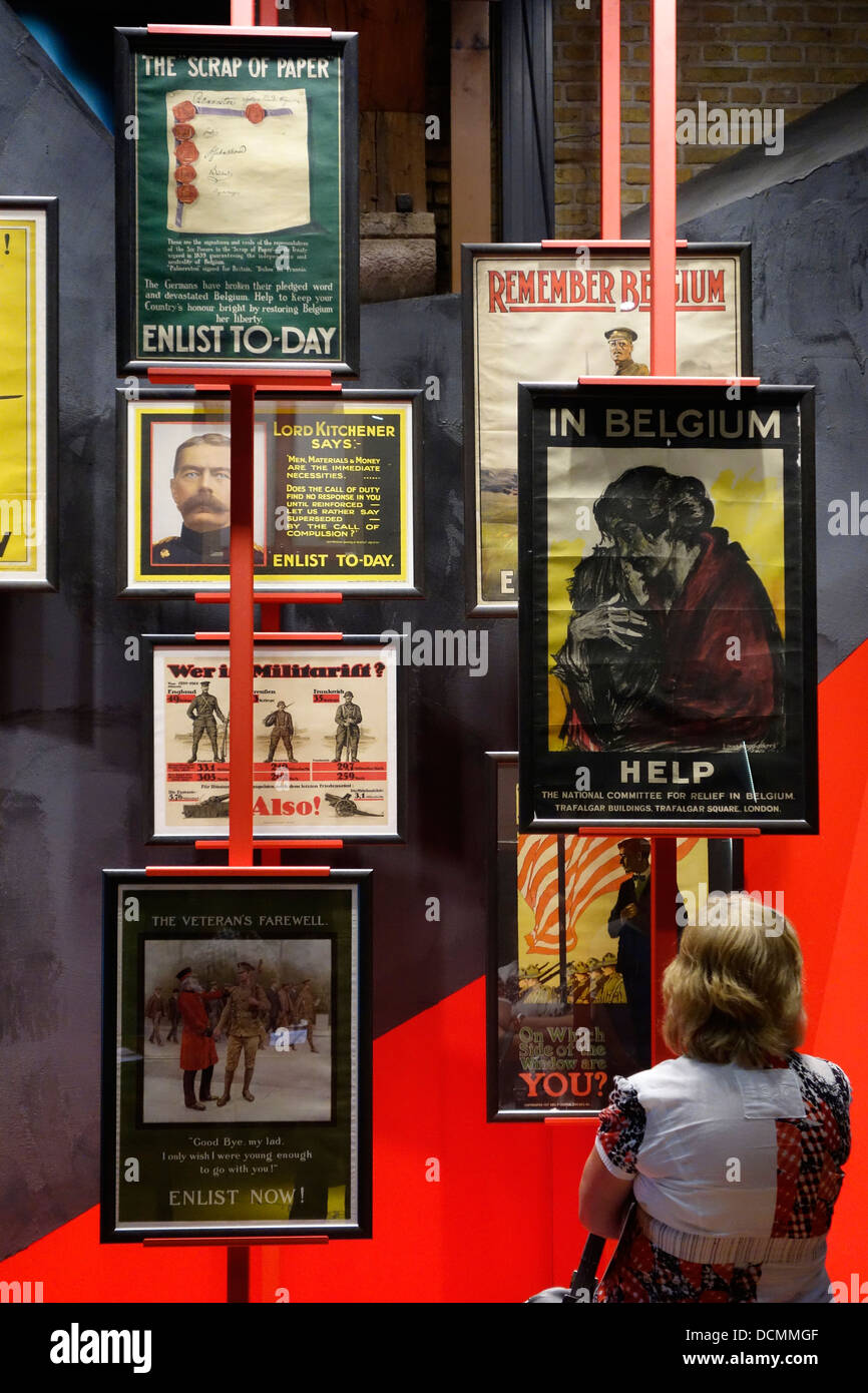 WWI British enlistment posters to recruit army volunteers to fight in Flanders, Belgium during the First World War - Stock Image