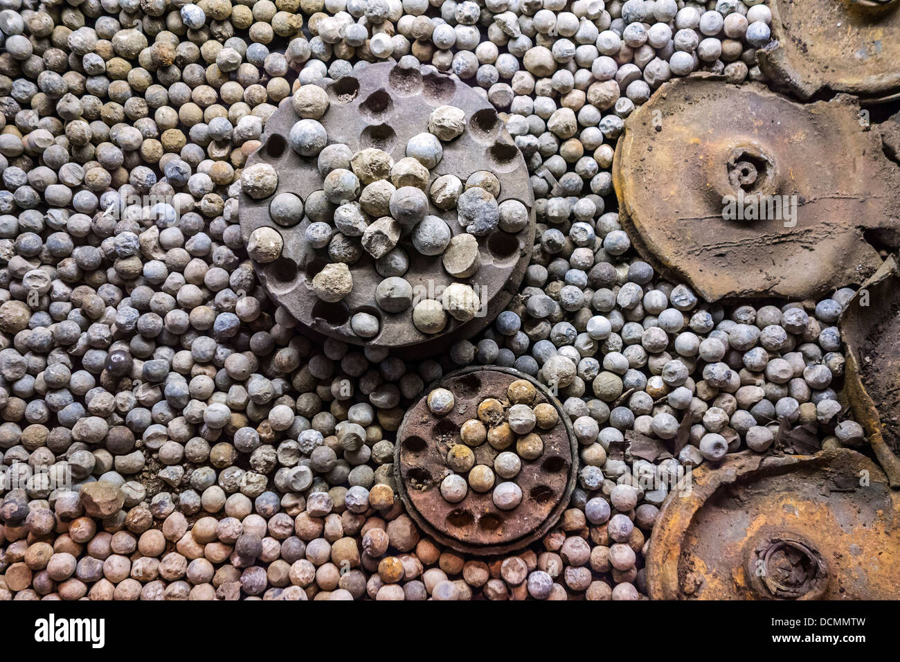 WWI ammunition bullets of exploded shrapnel shells from the First World War One at Ypres, West Flanders, Belgium - Stock Image