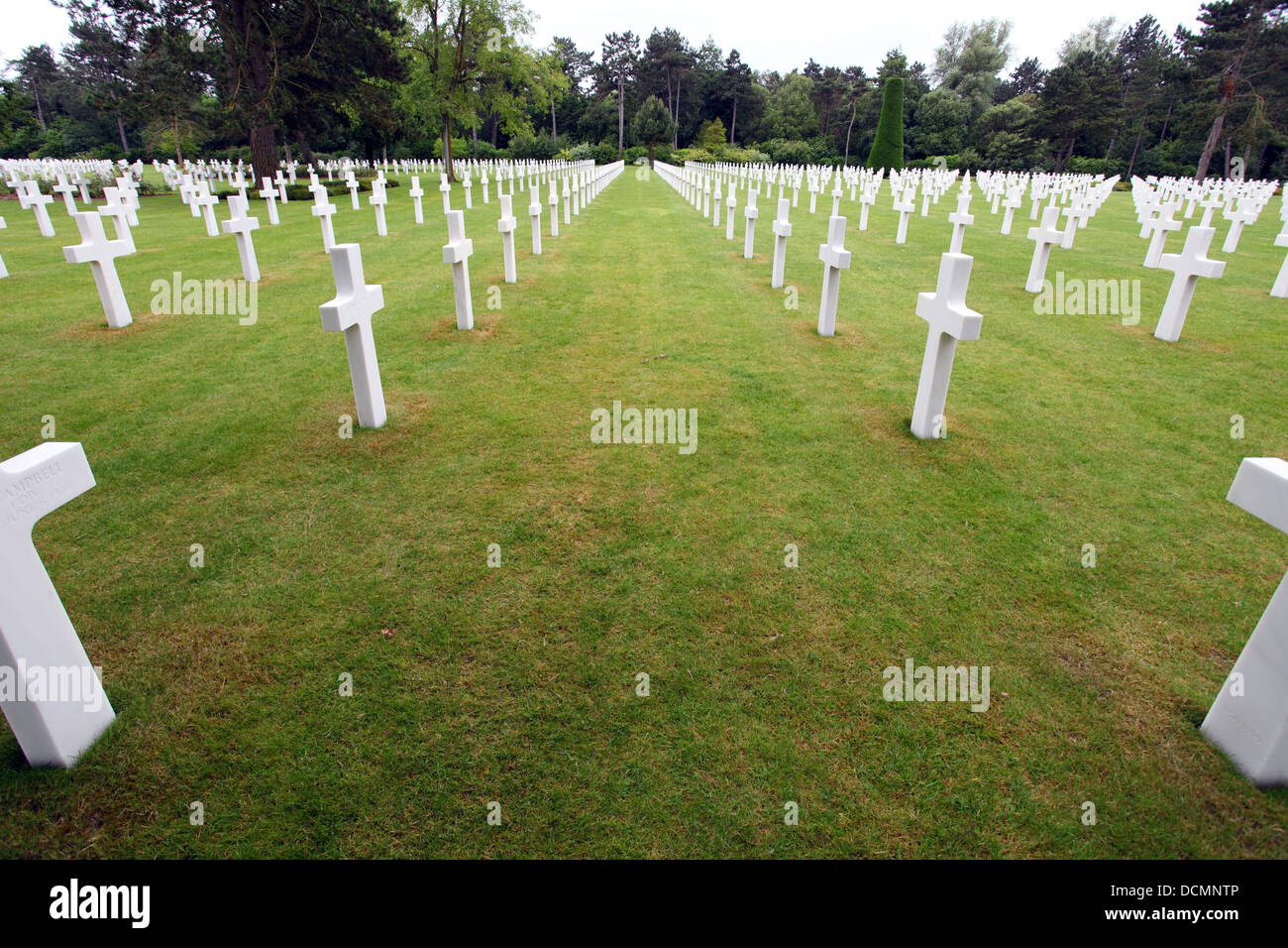 Gravestones at the Normandy American Memorial and Cemetery, maintained by the American Battle Monuments Commission - Stock Image