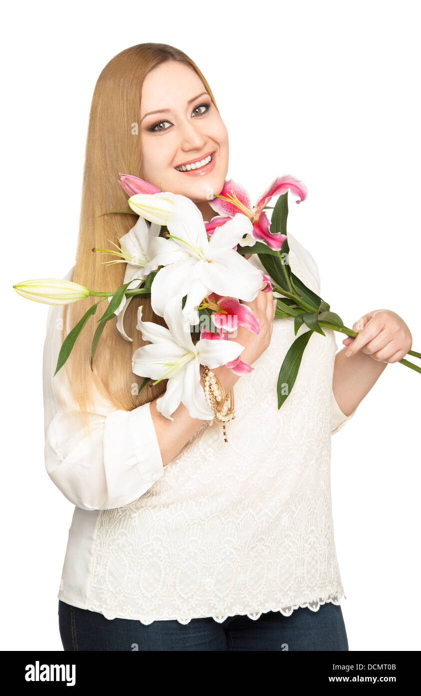 overweight woman lillies bouquet - Stock Image