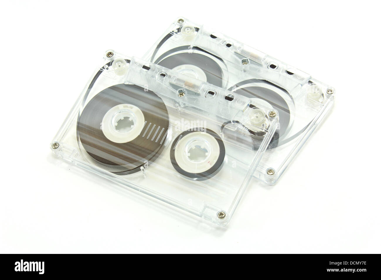 Two transparent cassete tape isolate on white background - Stock Image