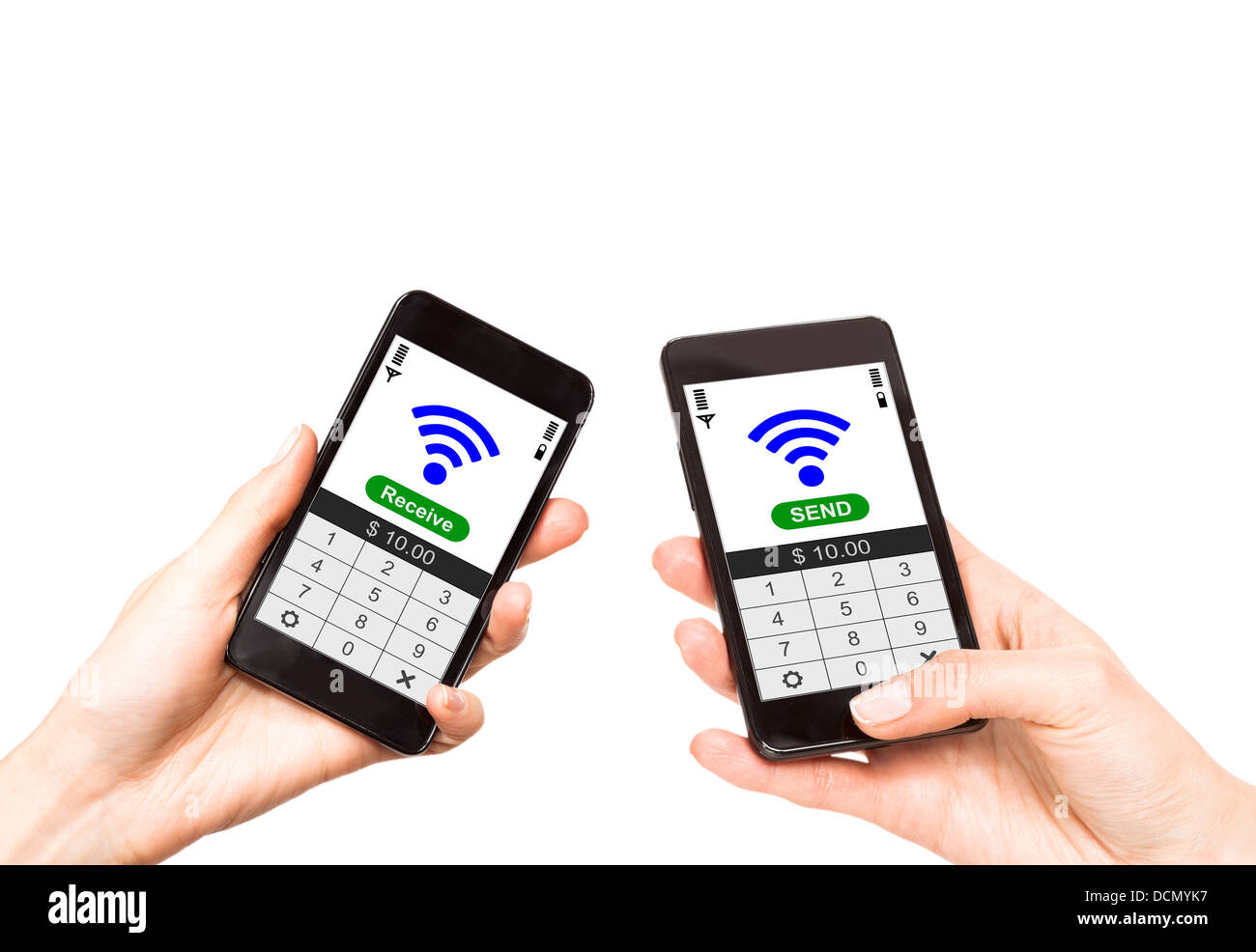 Two mobile phones with NFC payment technology  Near field