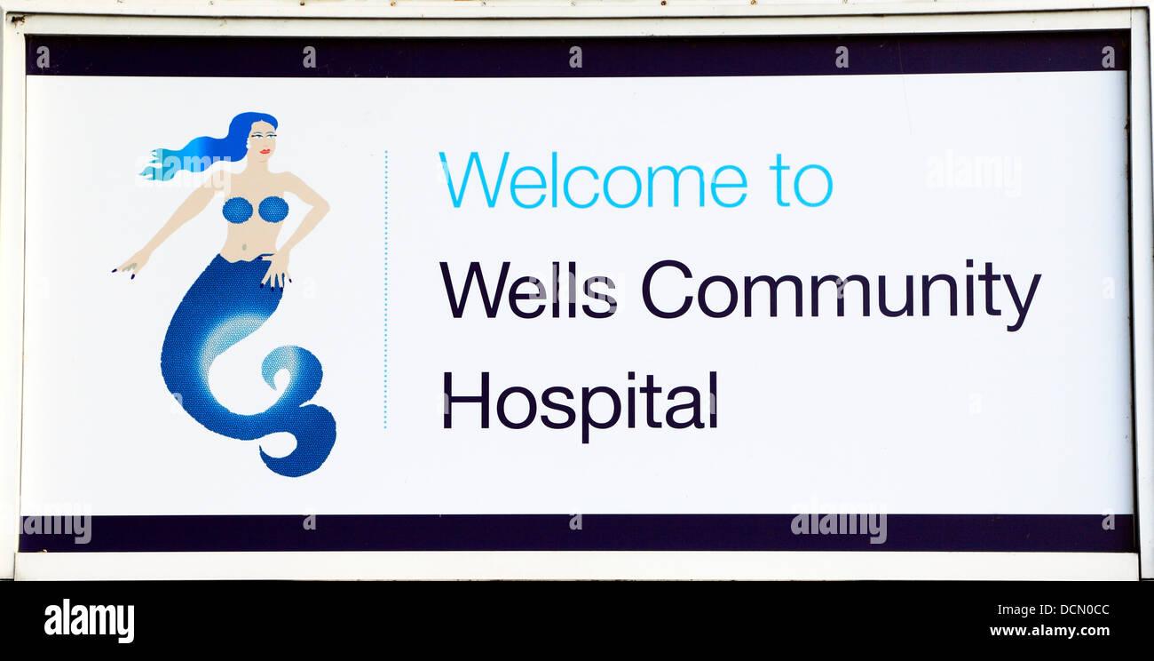Wells next the Sea Community Hospital sign, Norfolk, England UK - Stock Image