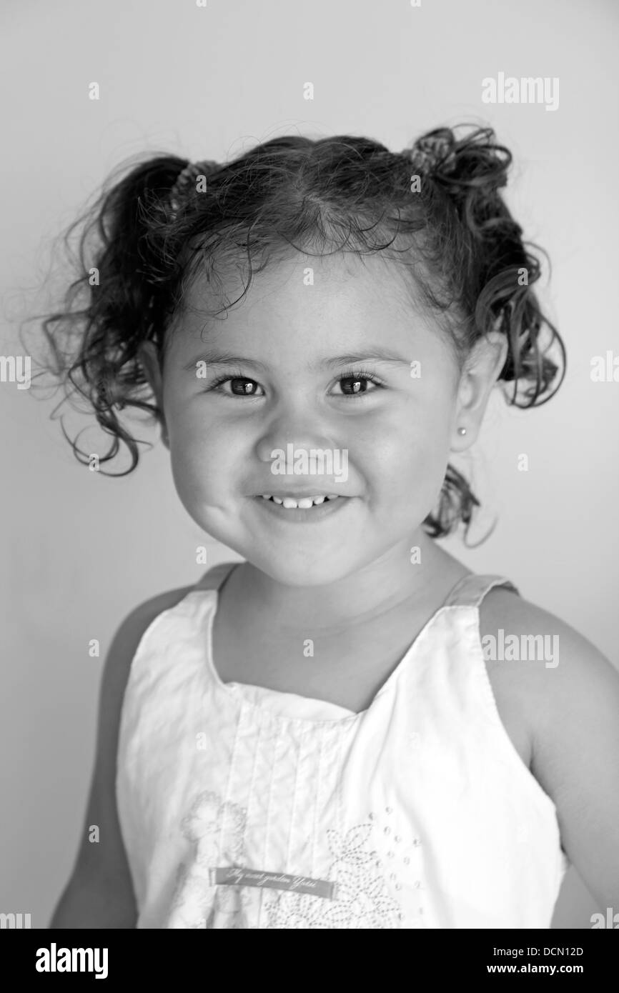 Baby girl. Black and white - Stock Image