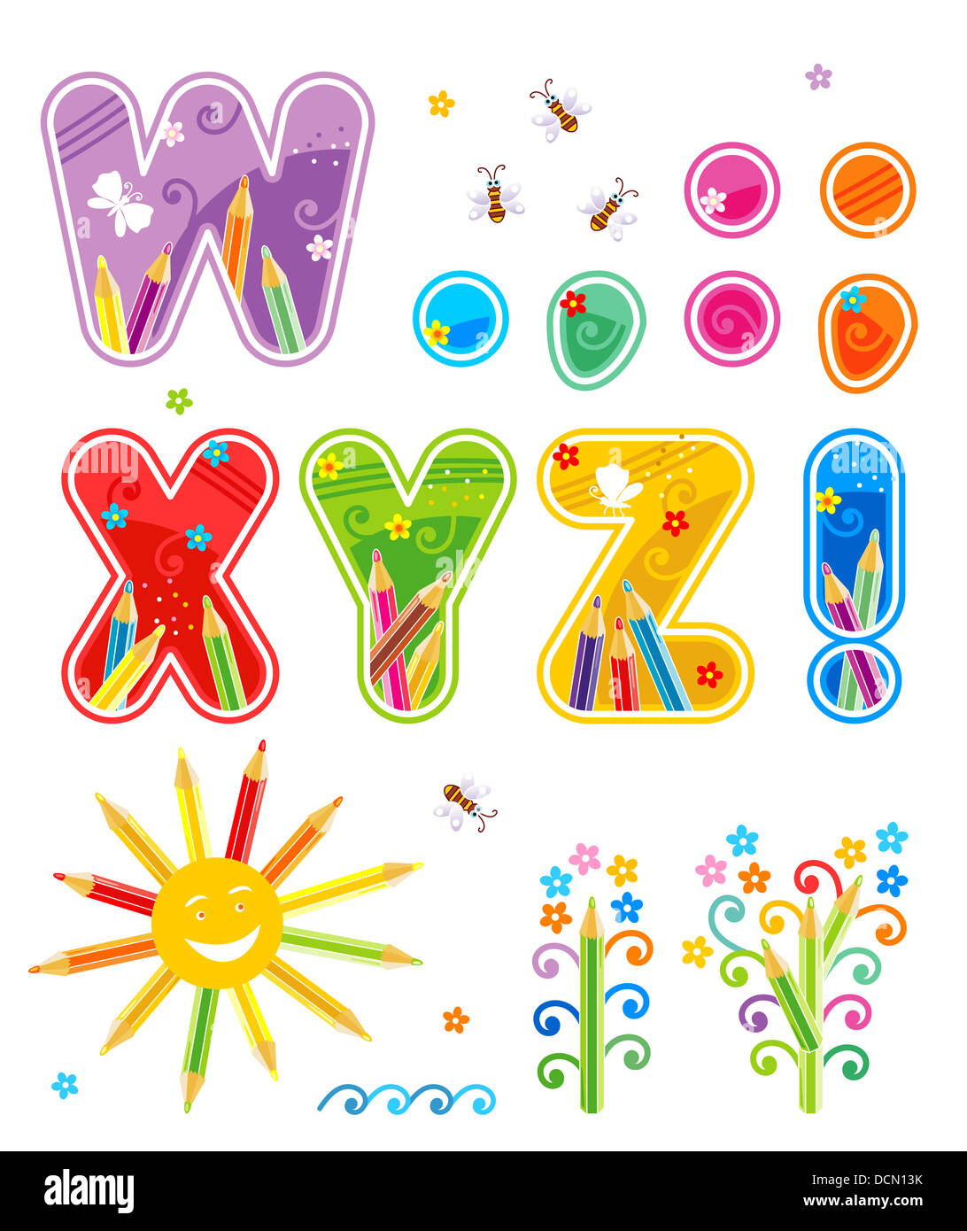Spring Summer Or School Alphabet Set Part 3 Of 4 Letters W