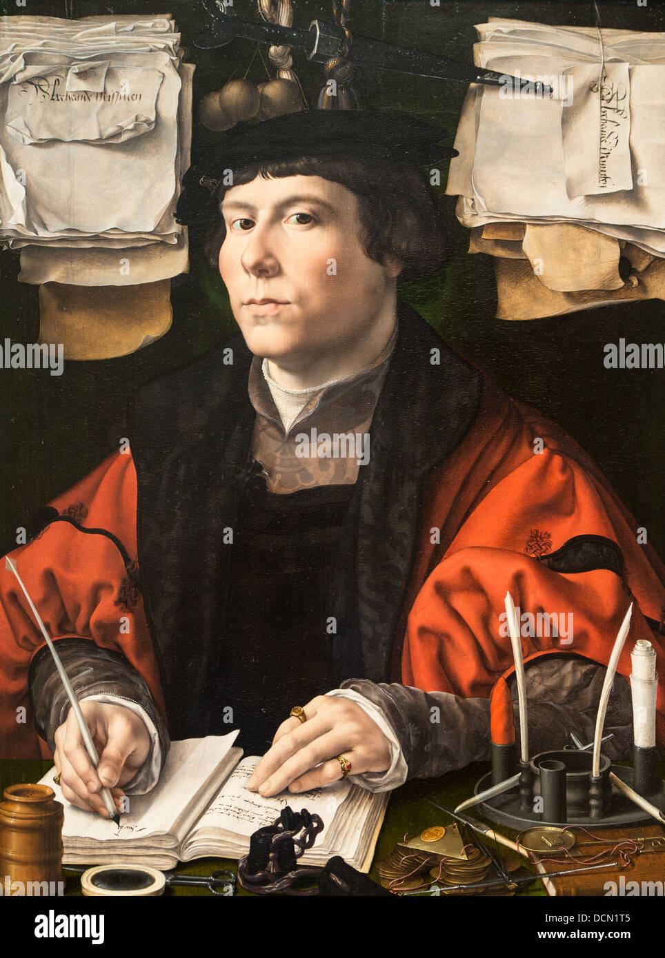 16th century  -  Portrait of a merchant - Jean Mabuse (1530) - National gallery - Washington Oil on wood - Stock Image