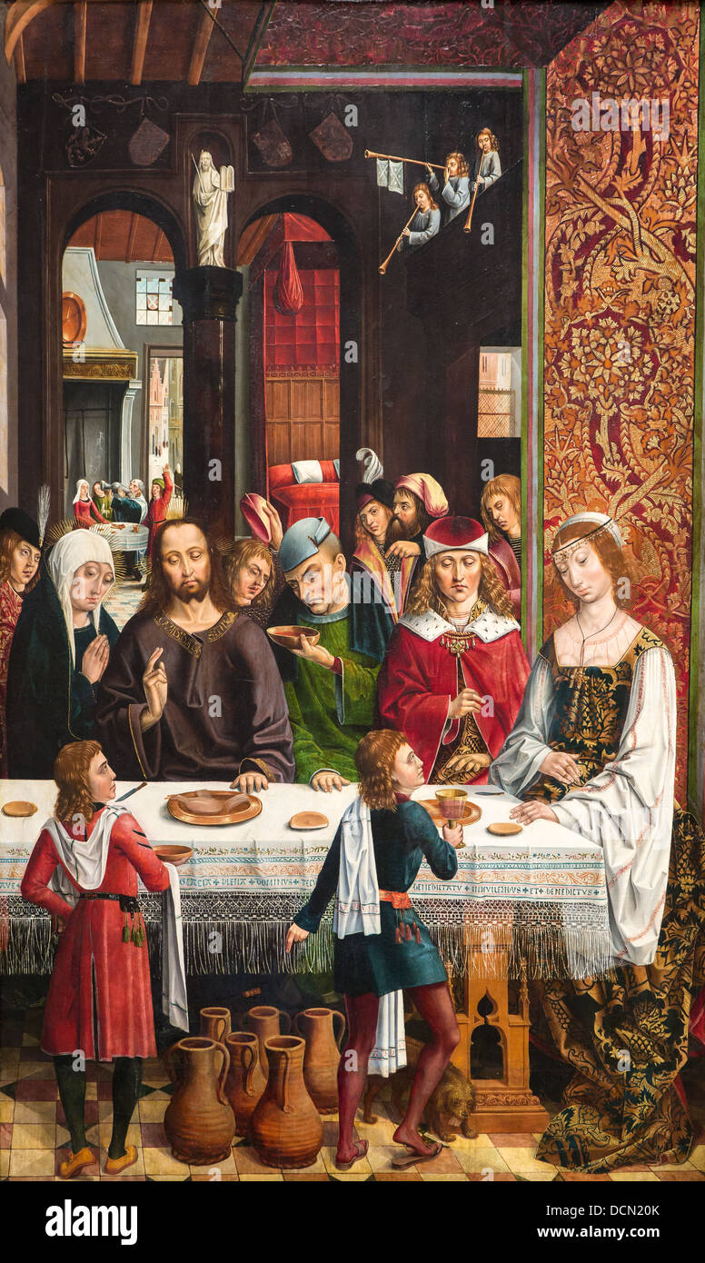 15th century  -  The Marriage at Cana, 1495 - Master of the Catholics Kings Philippe Sauvan-Magnet / Active Museum - Stock Image