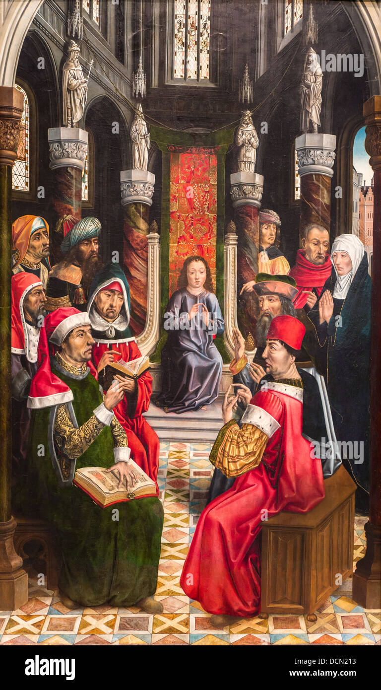 15th century  -  Christ among the Doctors, 1495 Master of the Catholics Kings Philippe Sauvan-Magnet / Active Museum - Stock Image