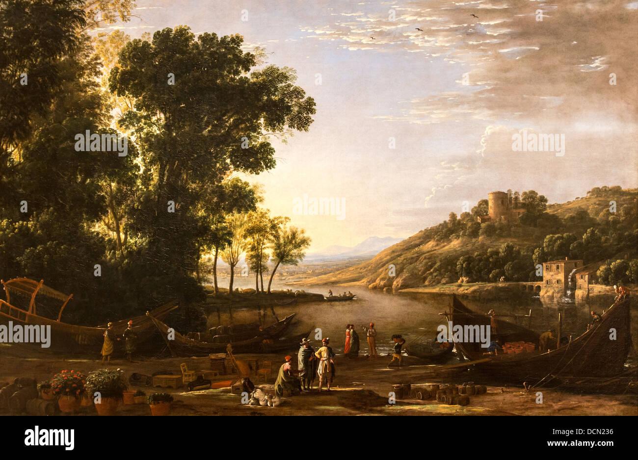 17th century  -  Landscape with Merchants, 1630 - Claude Lorrain Philippe Sauvan-Magnet / Active Museum - Stock Image