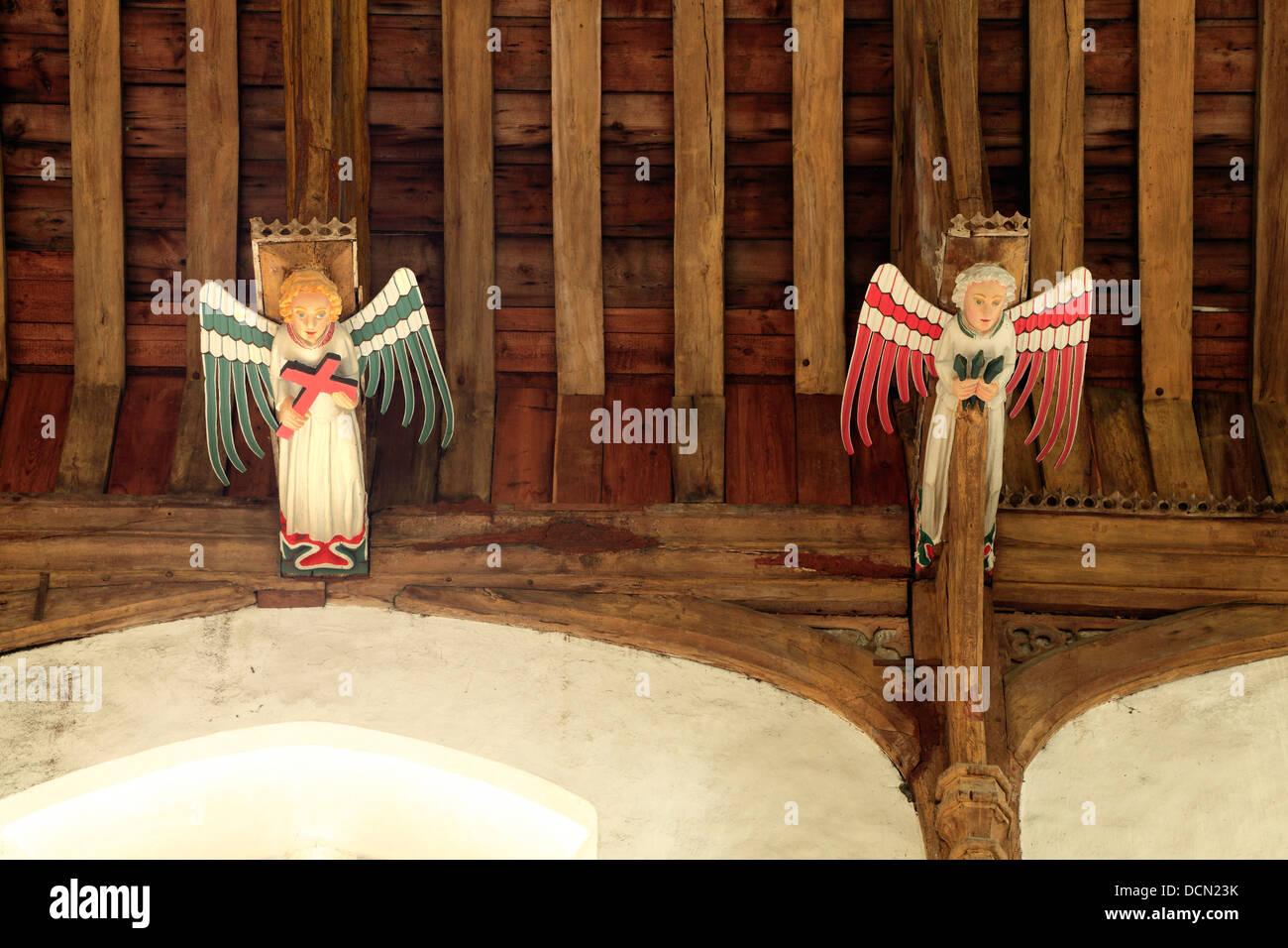 South Creake church, medieval hammerbeam roof, angels angel, Norfolk, England, roofs hammer beam beams - Stock Image