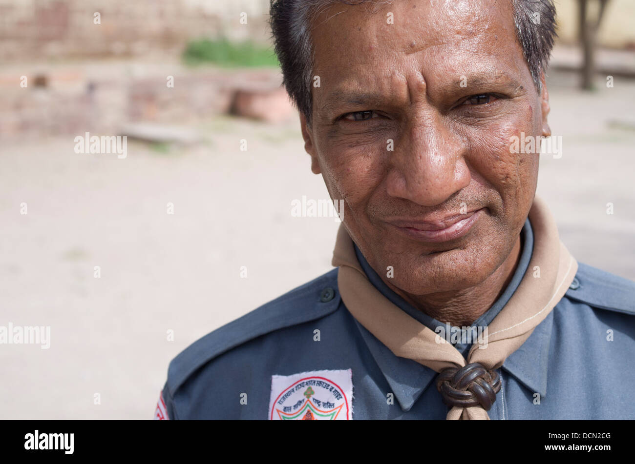 Indian Scout Leader with neckerchief and woggle Jodhpur, Rajashtan, India - Stock Image
