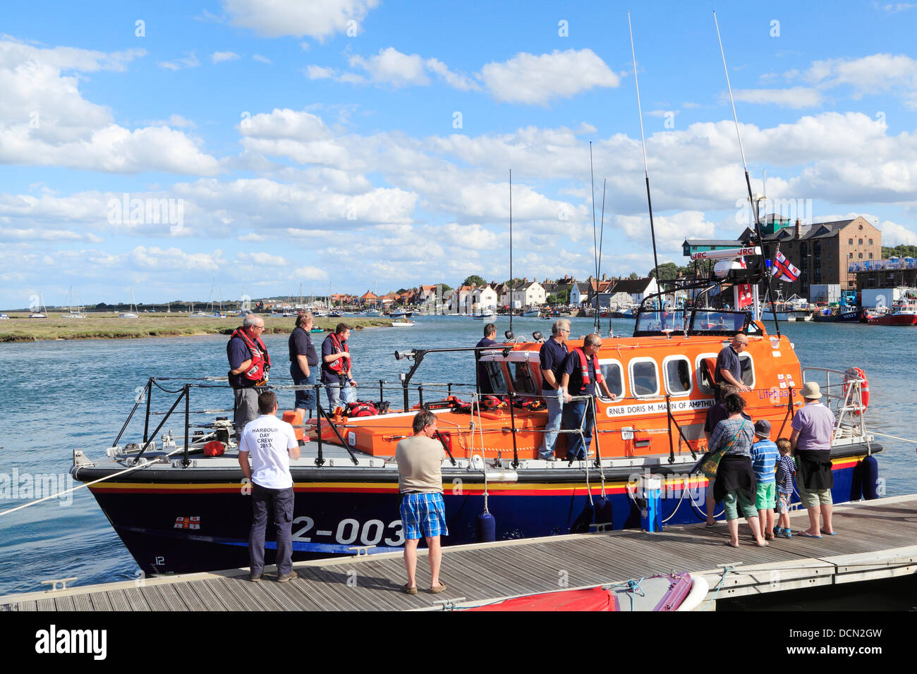 Wells Lifeboat and Harbour, Norfolk, England UK English lifeboats coast coastal town towns - Stock Image