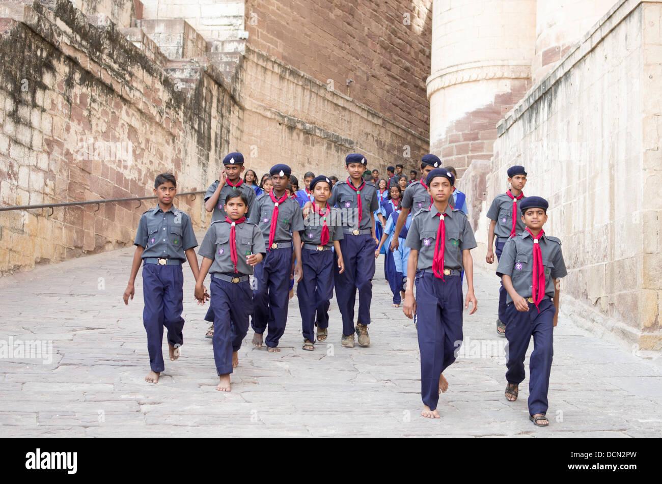 Indian Boy Scouts visiting Meherangarh Fort - Jodhpur, Rajashtan, India - Stock Image