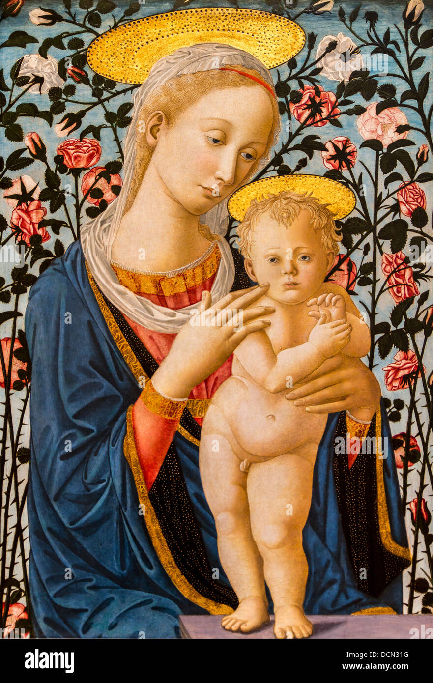 15th century  -  Madonna and Child, 1470 Workshop of Fra Filippo Lippi Philippe Sauvan-Magnet / Active Museum - Stock Image