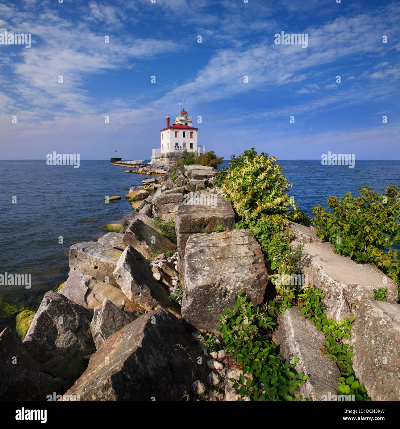 A Classic Lake Erie Lighthouse, The Fairport Harbor West Breakwater Light On A Beautiful Day In Fairport Ohio, USA - Stock Image