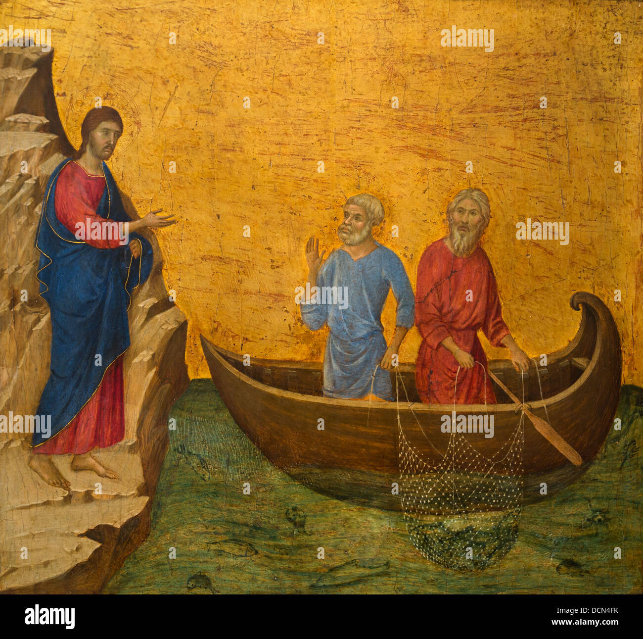14th century  -  The Calling of the Apostles Peter and Andrew, 1308 - Duccio di Buoninsegna - Stock Image