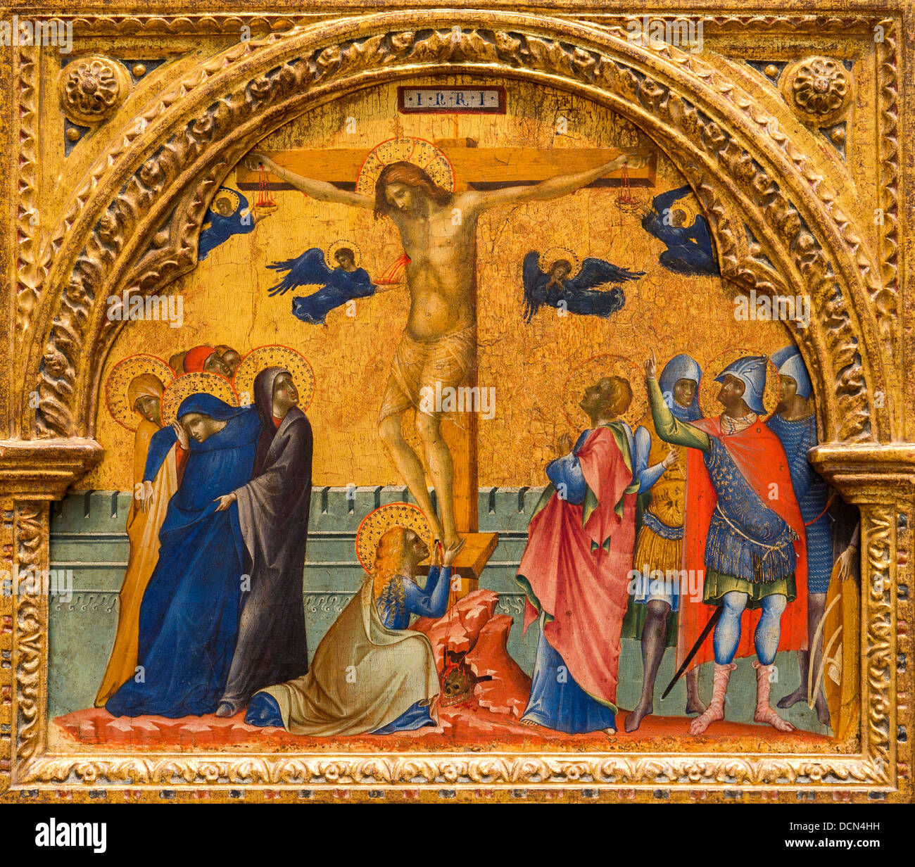 14th century  -  The Crucifixion, 1340 - Paolo Veneziano Philippe Sauvan-Magnet / Active Museum - Stock Image