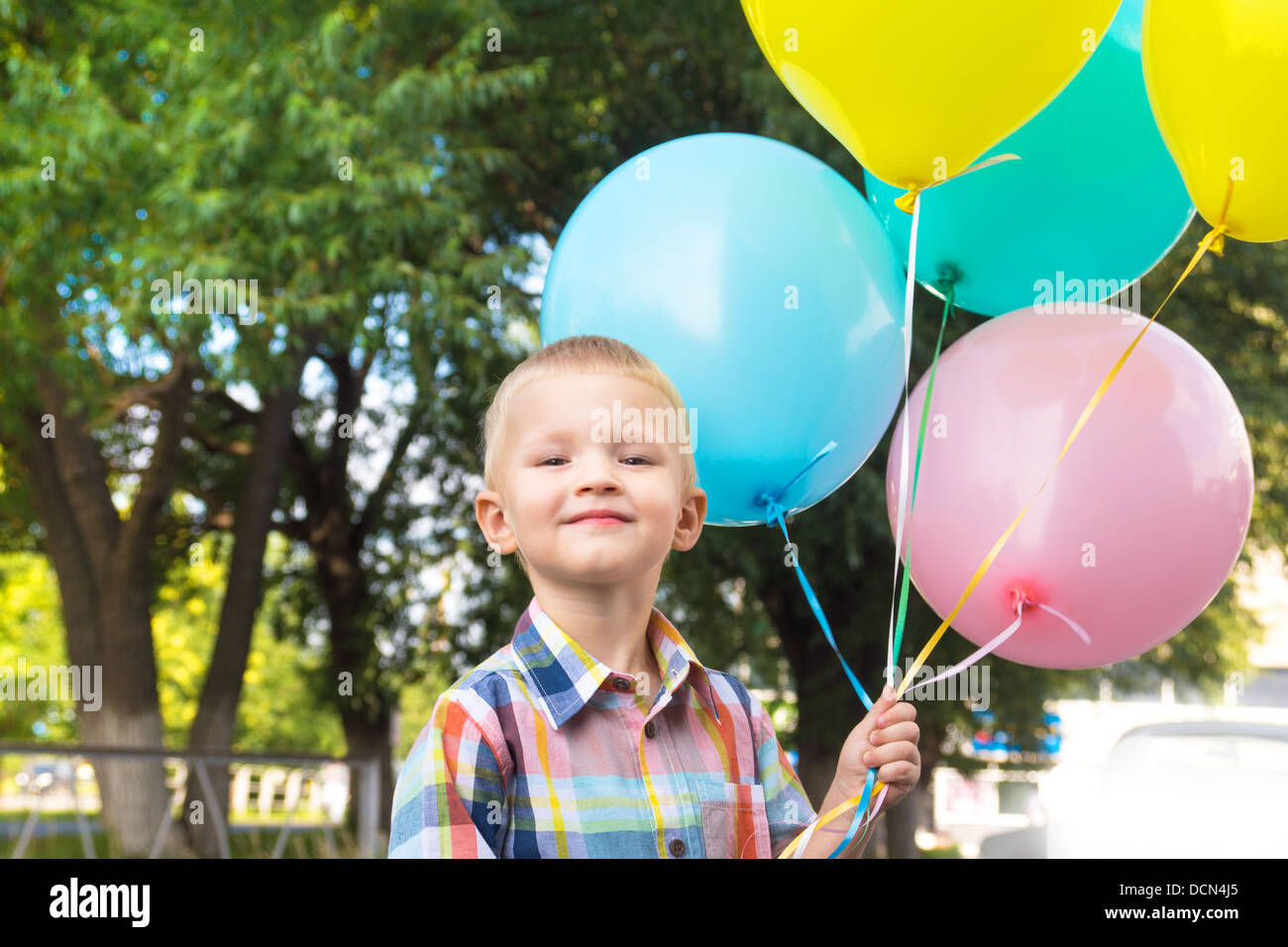 Happy Birthday Smiling Beautiful Child Boy Kid With Balloons Outdoor