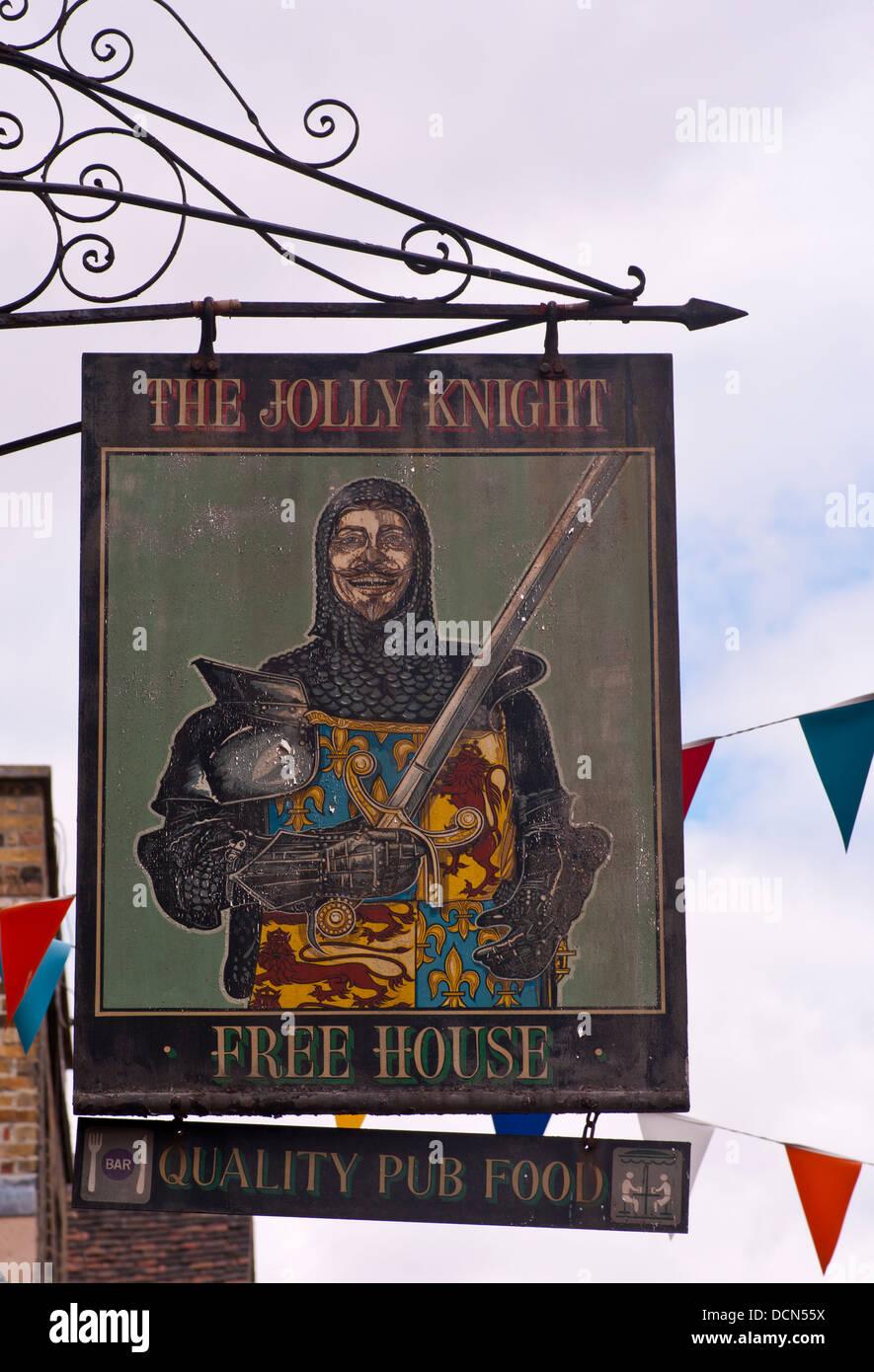 The Jolly Knight Free House Pub Sign UK - Stock Image