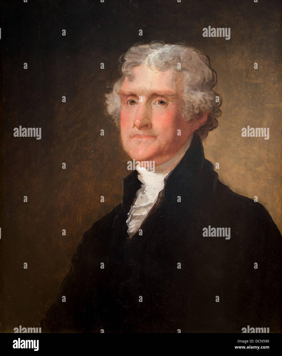 19th century  -  Thomas Jefferson - Gilbert Stuart (1821) Philippe Sauvan-Magnet / Active Museum - Stock Image