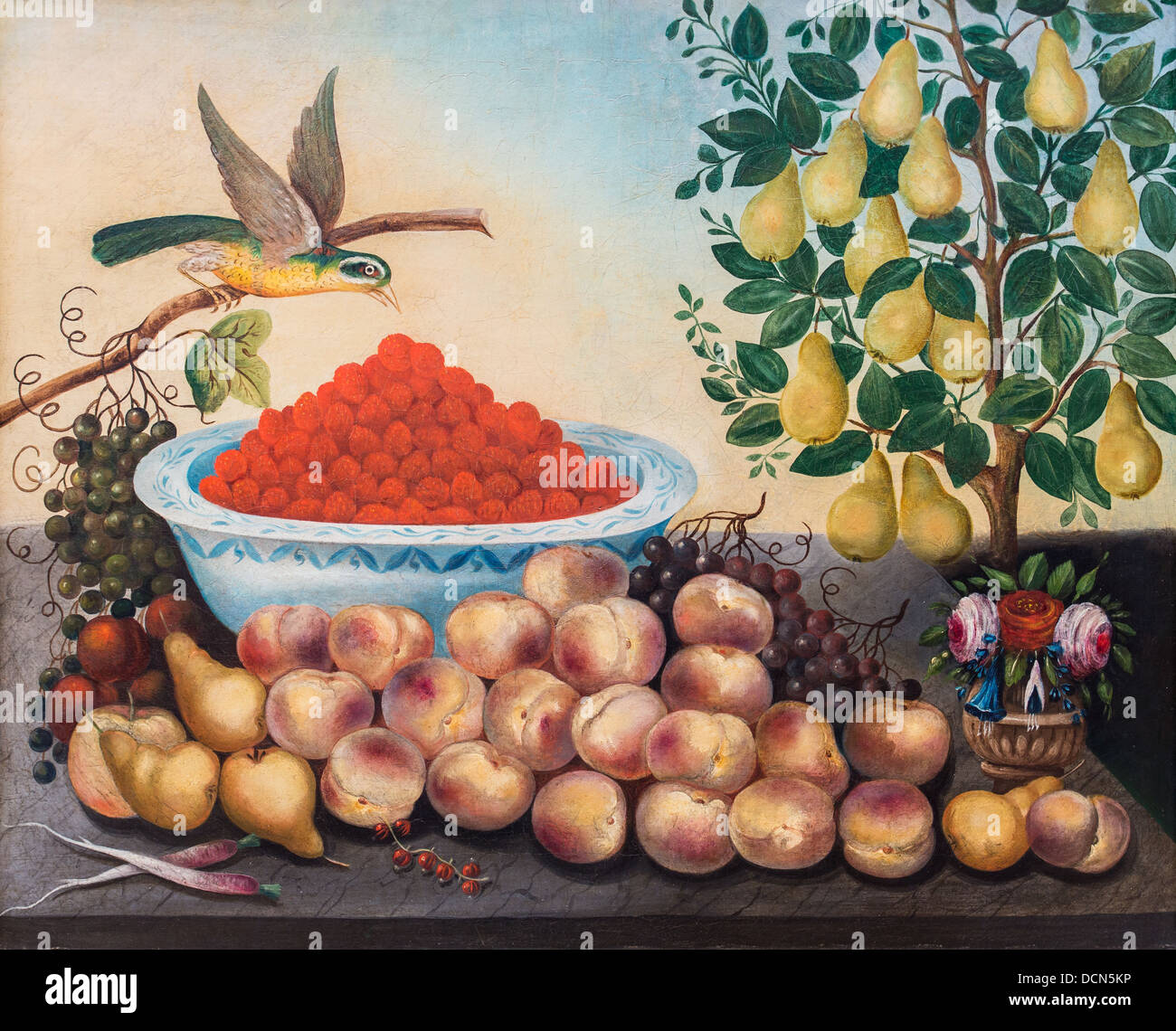 19th century  -  Still life, fruit, bird and dwarf pear tree - Charles V. Bond (1856) Philippe Sauvan-Magnet / Active - Stock Image
