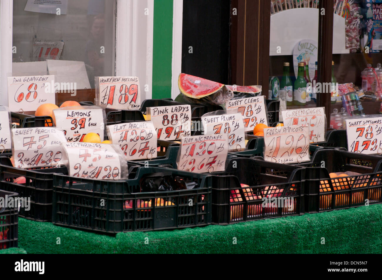 Fruit Display Outside a Greengrocers UK - Stock Image