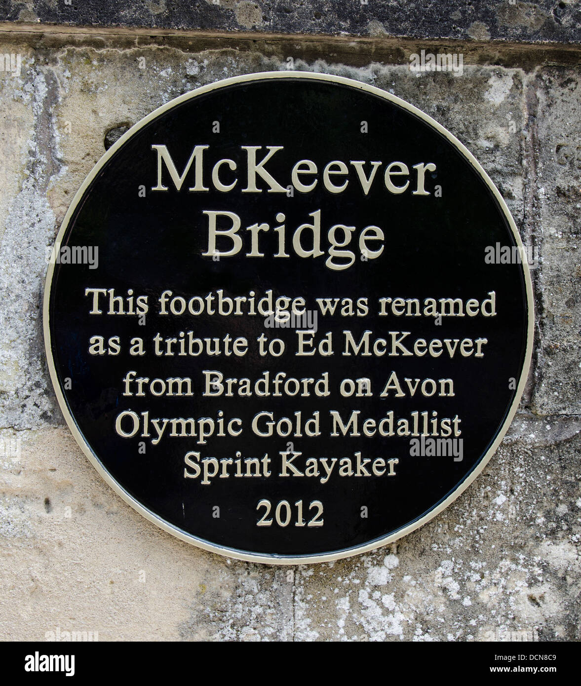 Sign on the Ed McKeever footbridge in Bradford-on-Avon Wiltshire - Stock Image