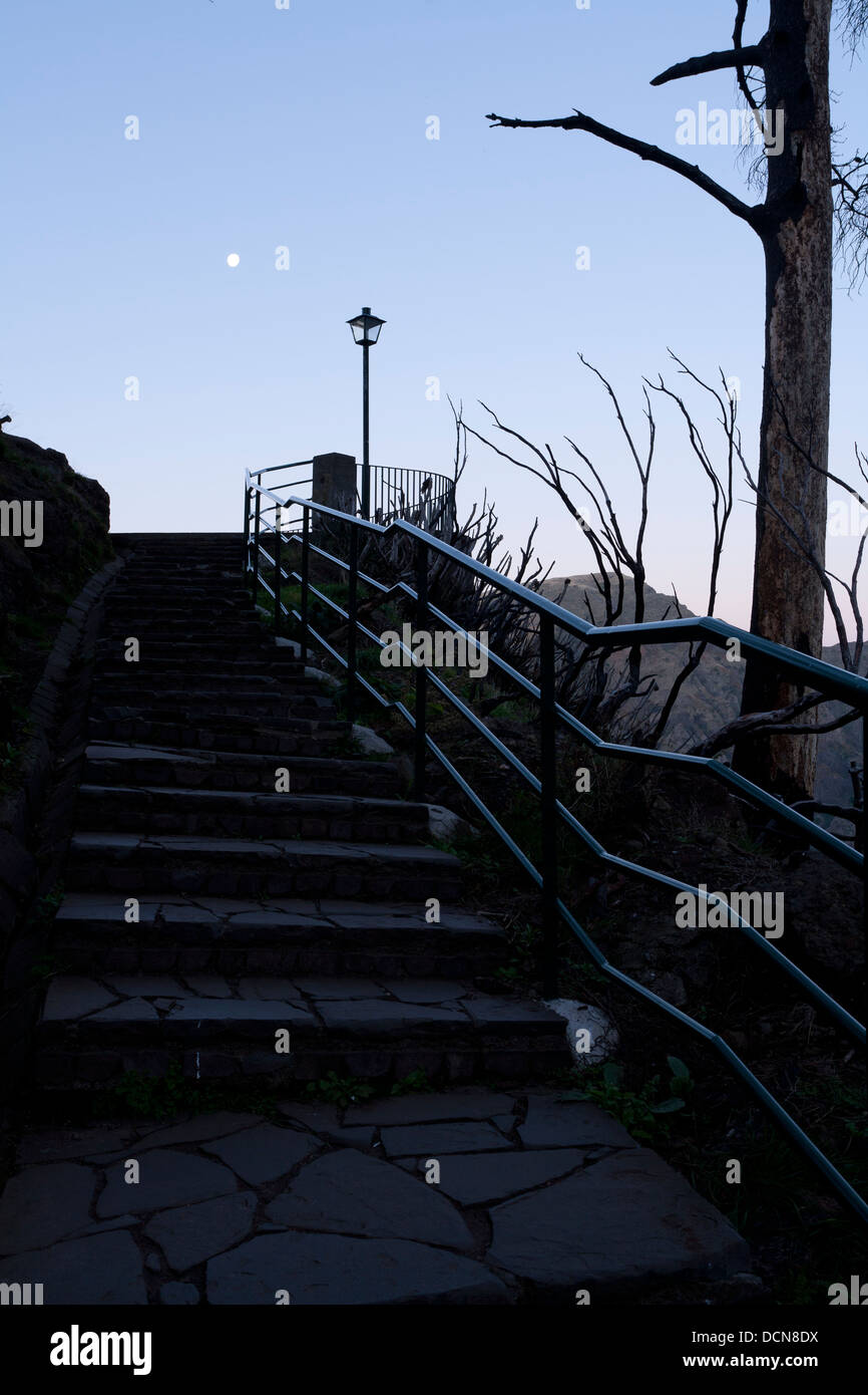 A view up the stairs towards the viewpoint at Eira do Serrado, above Curral das Freiras, Madeira. - Stock Image