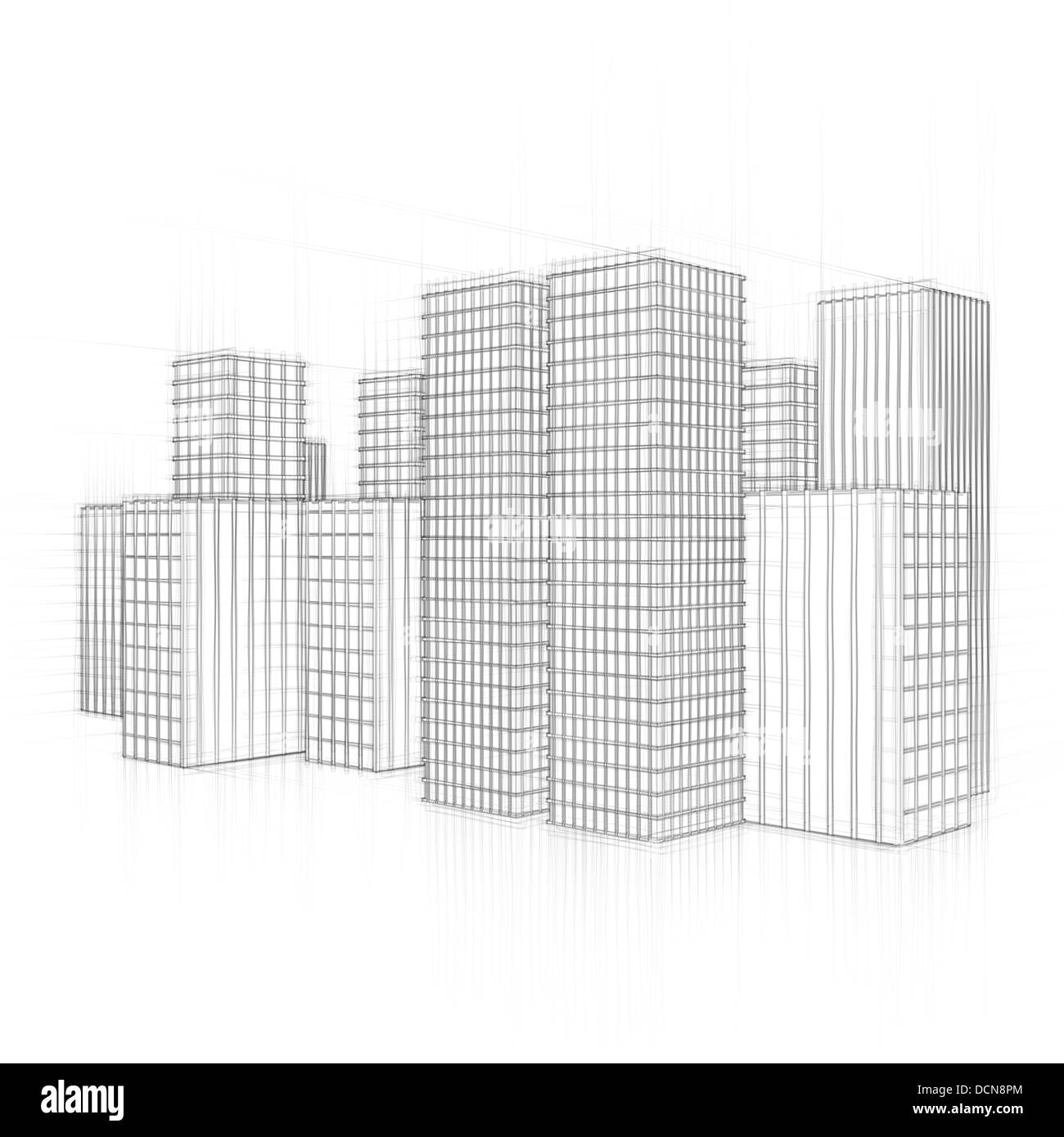 line drawing of city with large office towers - Stock Image