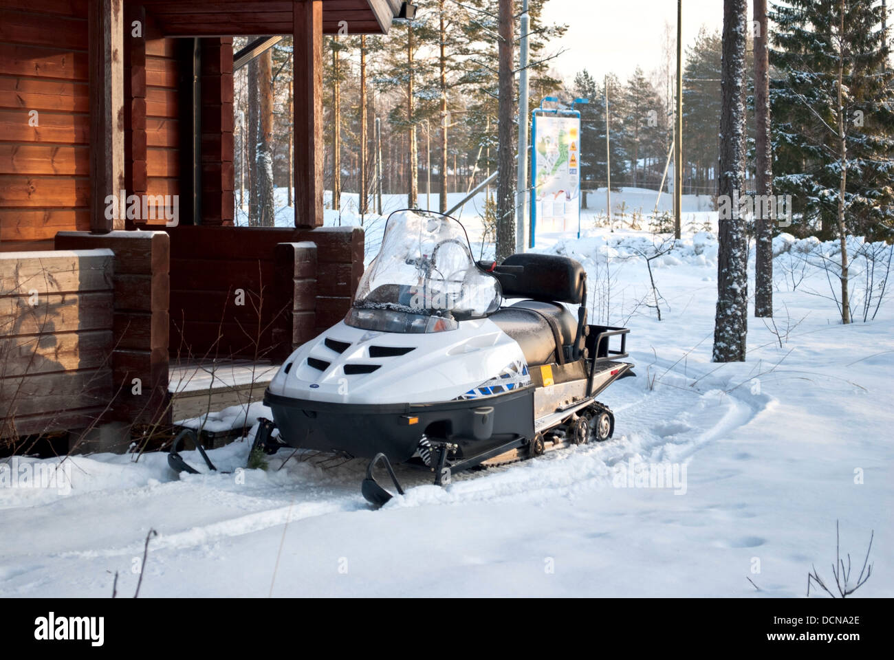Snowmobiles on holiday at the sports center Vierumaki, Finland. - Stock Image