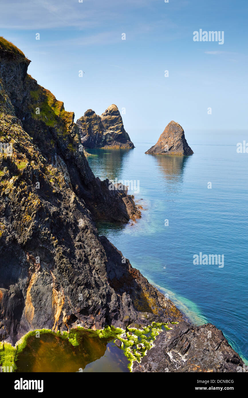 Careg Wylan and Ceibwr Bay near Cardigan and Moylgrove on the South Wales coast path - Stock Image
