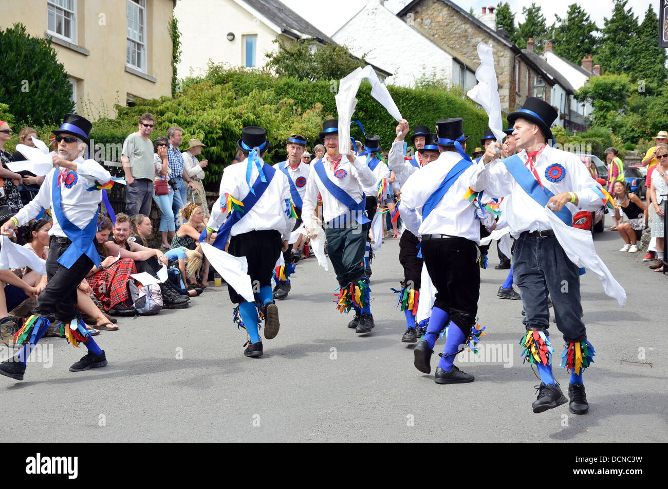 Morris Dancers at the 2013 Dartmoor Folk Festival, South Zeal, Dartmoor, Devon, England - Stock Image