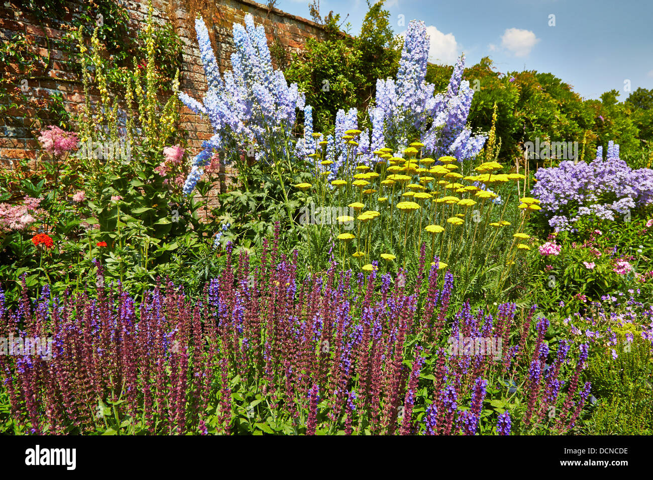 Waterperry Gardens and the magnificent walled herbaceous border at its height in midsummer and dominated by pale - Stock Image