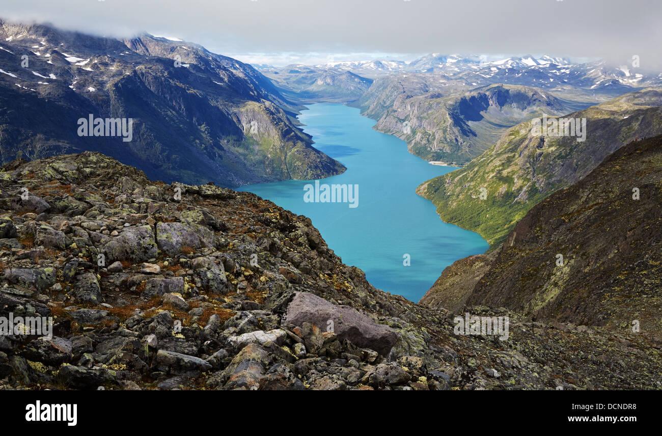 Lake Gjende from the descent of the Besseggen Ridge Jotunheimen National Park Norway - Stock Image