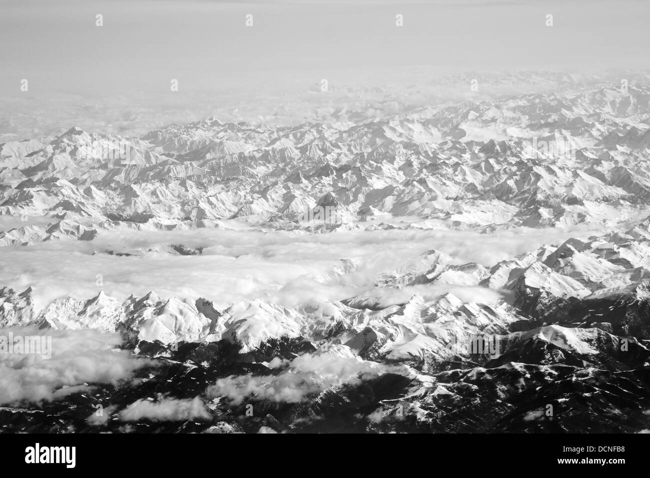 View from the plane over the Alps - Stock Image