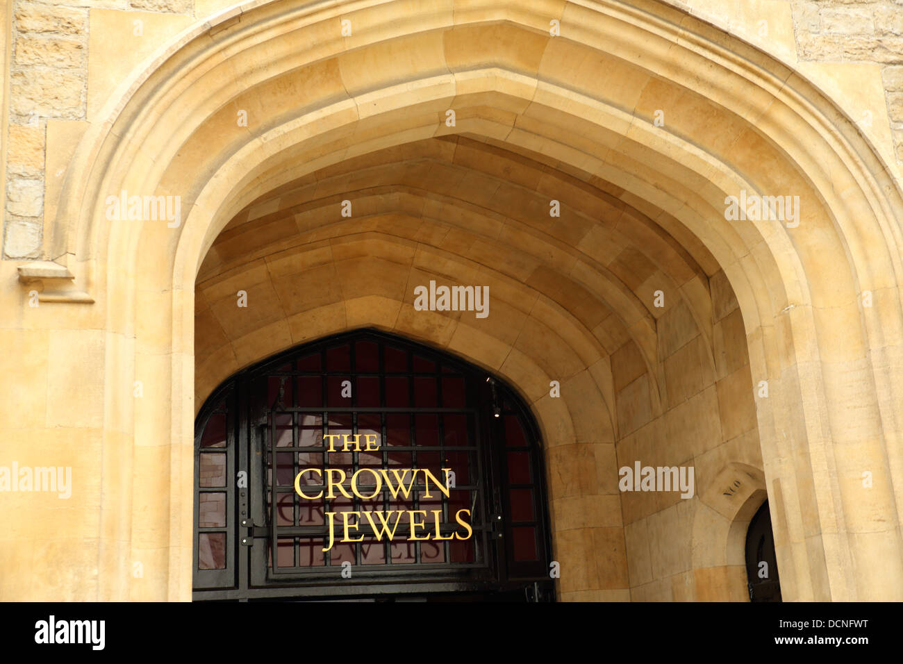 Entrance to the Jewel House at the Tower of London where the Crown Jewels are on display, London England UK Stock Photo
