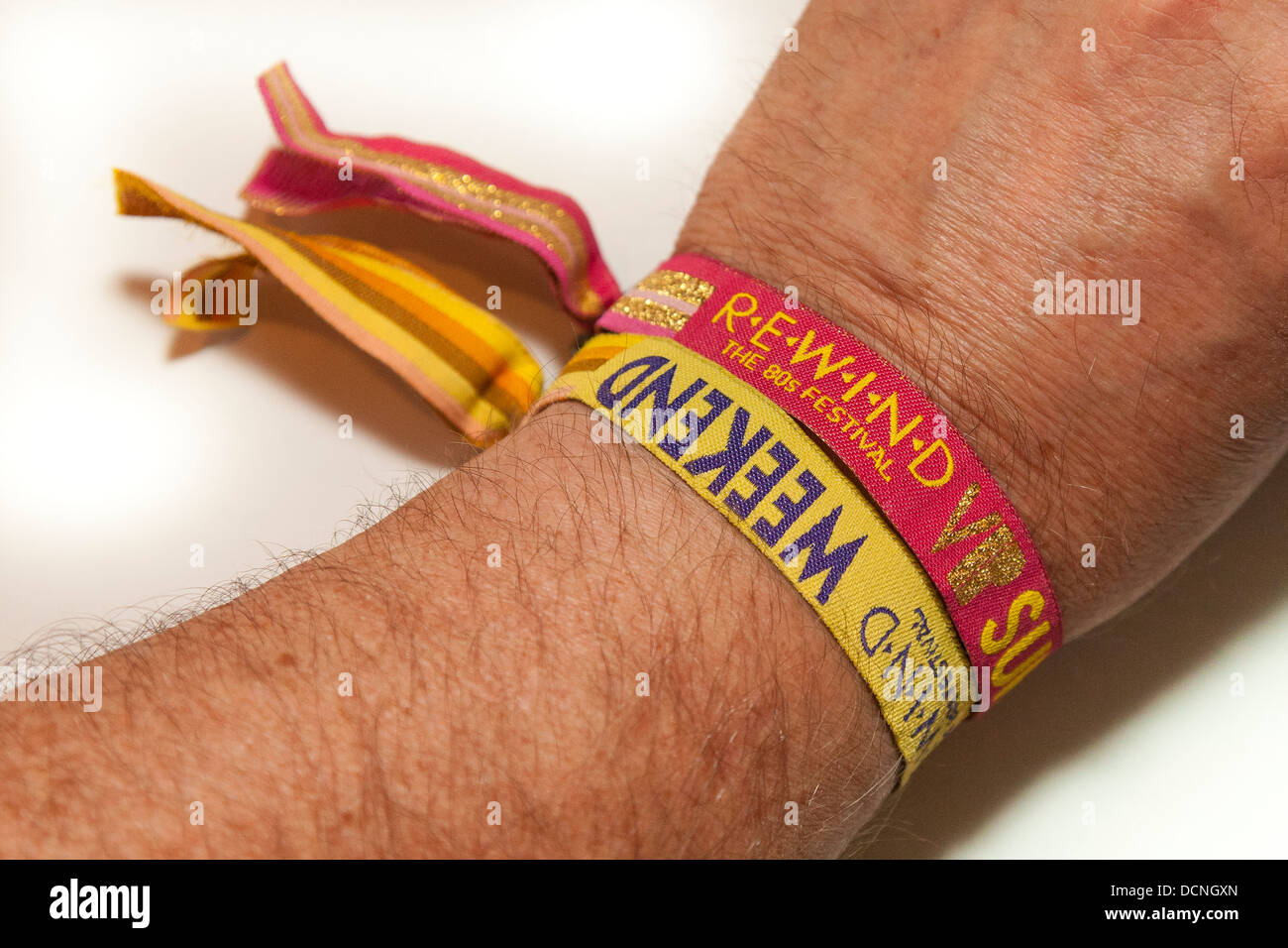 VIP wrist tags for admission to 'REWIND - The 80s Festival' held 16-17-18 August 2013 at Henley-on-Thames, - Stock Image