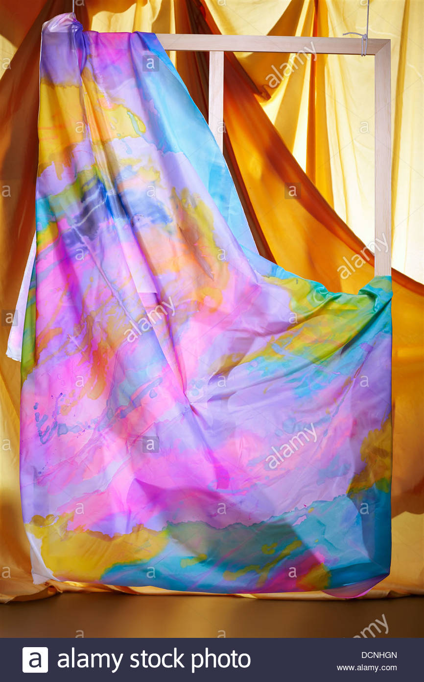 silk on wooden easel - Stock Image